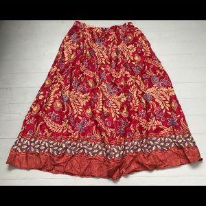 Boho vintage floral button midi skirt